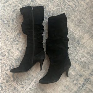 Tall suede slouch boot, black size 8.5